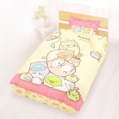 享夢城堡 單人床包雙人涼被三件組-角落小夥伴 逗逗貓-米黃