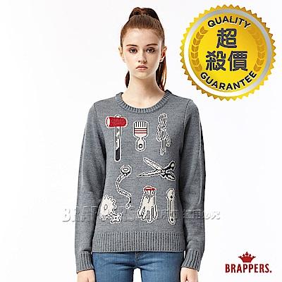BRAPPERS 女款 緹花趣味圖騰長袖毛衣-灰