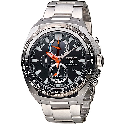 SEIKO 精工 PROSPEX 兩地時間太陽能腕錶 (SSC487P1)48mm