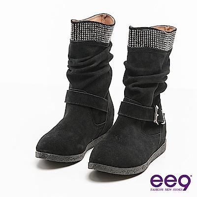 ee9聚焦魅力~百搭時尚耀眼晶鑽金屬扣環中筒靴*黑色