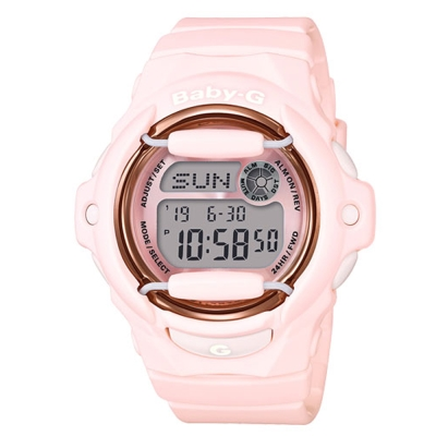 BABY-G 柔和甜美花粉嫩氣息金屬防護休閒錶( BG-169G-4B)粉紅42.6mm