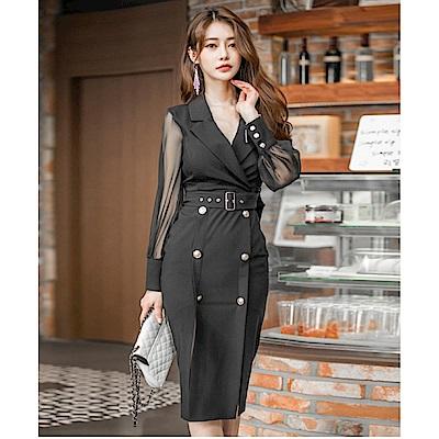 IMStyle 時尚OL翻領排釦包臀洋裝(黑色)