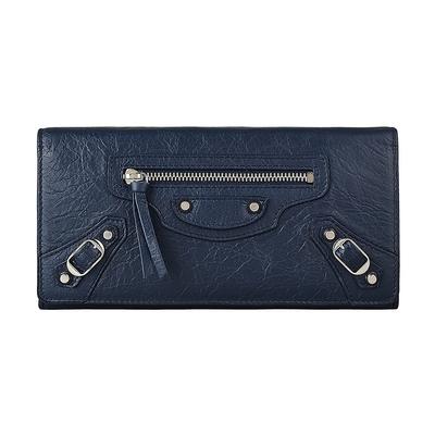 BALENCIAGA巴黎世家 MONEY拉鍊裝飾銀扣設計羊皮12卡扣式長夾(藍)
