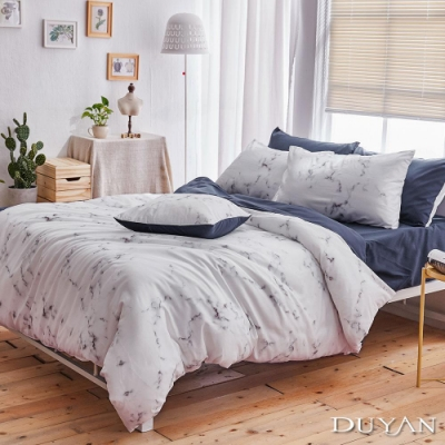 DUYAN竹漾 MIT 天絲絨-單人床包被套三件組-大理石午夜藍