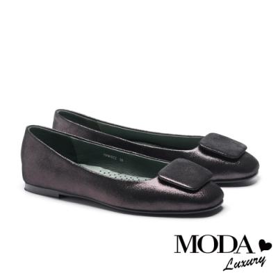 平底鞋 MODA Luxury 簡約內斂方釦全真皮方頭平底鞋-黑銀