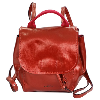 COACH金屬紅柔軟全皮多重搭配斜背/後背小款水桶包