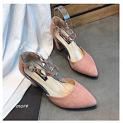 KEITH-WILL時尚鞋館 時尚元素俏皮粗跟鞋-粉色