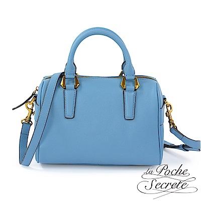 La Poche Secrete側背包 簡約真皮素面荔枝紋波士頓包-天空藍