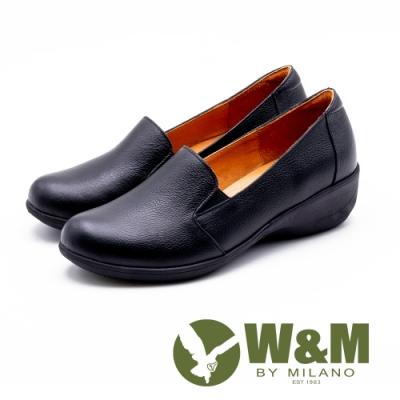 W&M 舒適真皮 厚底坡跟楔型鞋 女鞋-黑(另有藍)