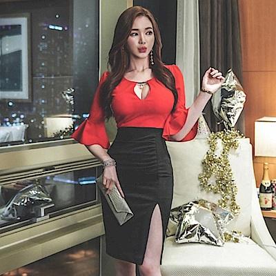 IMStyle 喇叭袖黑紅色拼接性感開衩連身洋裝(黑紅色拼接)