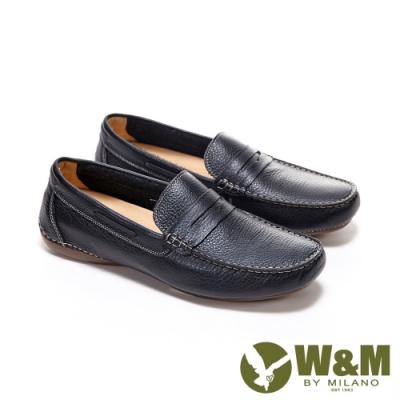 W&M 方頭車線皮飾莫卡辛 樂福鞋 開車鞋 男鞋 -黑(另有棕)