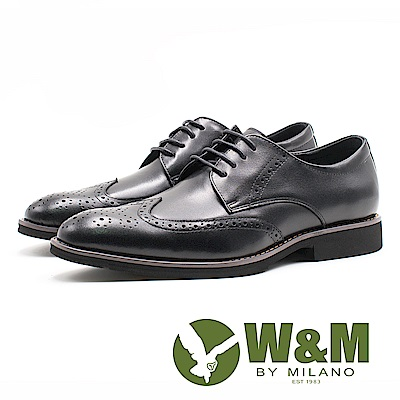 W&M 貴族精緻壓紋綁帶男皮鞋-黑(另有棕)