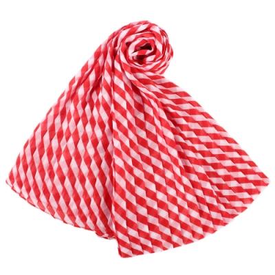 MICHAEL KORS 雙色條紋百褶設計薄圍巾-紅白
