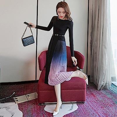 DABI 韓國風時尚氣質漸變百褶修身拼接針織長袖洋裝