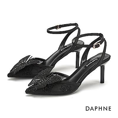 達芙妮DAPHNE 高跟鞋-微美透膚閃耀水鑽立體蝴蝶結尖頭高跟鞋-黑色