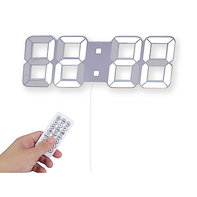 KINYO  可遙控USB供電LED立體大數字電子鐘 -白光