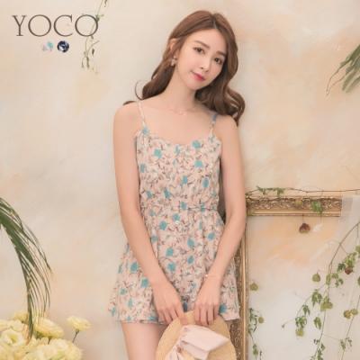 東京著衣-YOCO 甜美滿版印花縮腰細肩帶連身褲裙-S.M.L(共二色)
