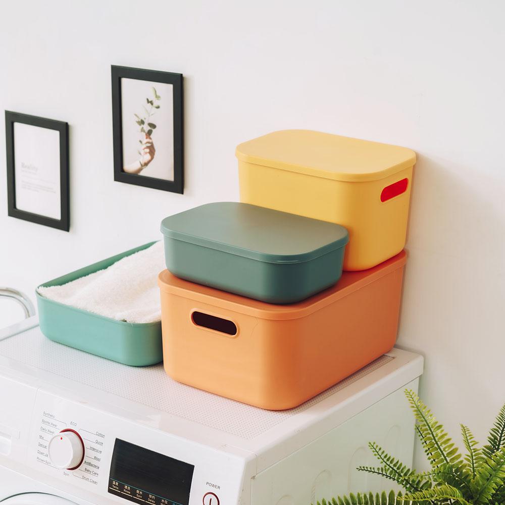 樂嫚妮 4入可堆疊手提收納箱/防塵簡約附蓋儲物盒/分類收納-(4色)