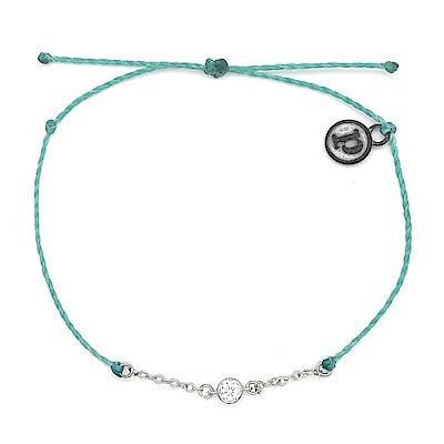 Pura Vida 美國手工 魅力水鑽墜飾 淡藍綠蠟線衝浪手鍊手環