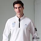 歐洲貴族 oillio 長袖T恤 螺紋立領 品牌刺繡 白色