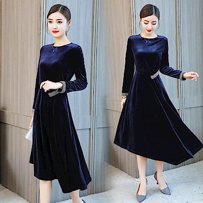午夜藍絲絨水鑽飾洋裝-L~3XL-REKO