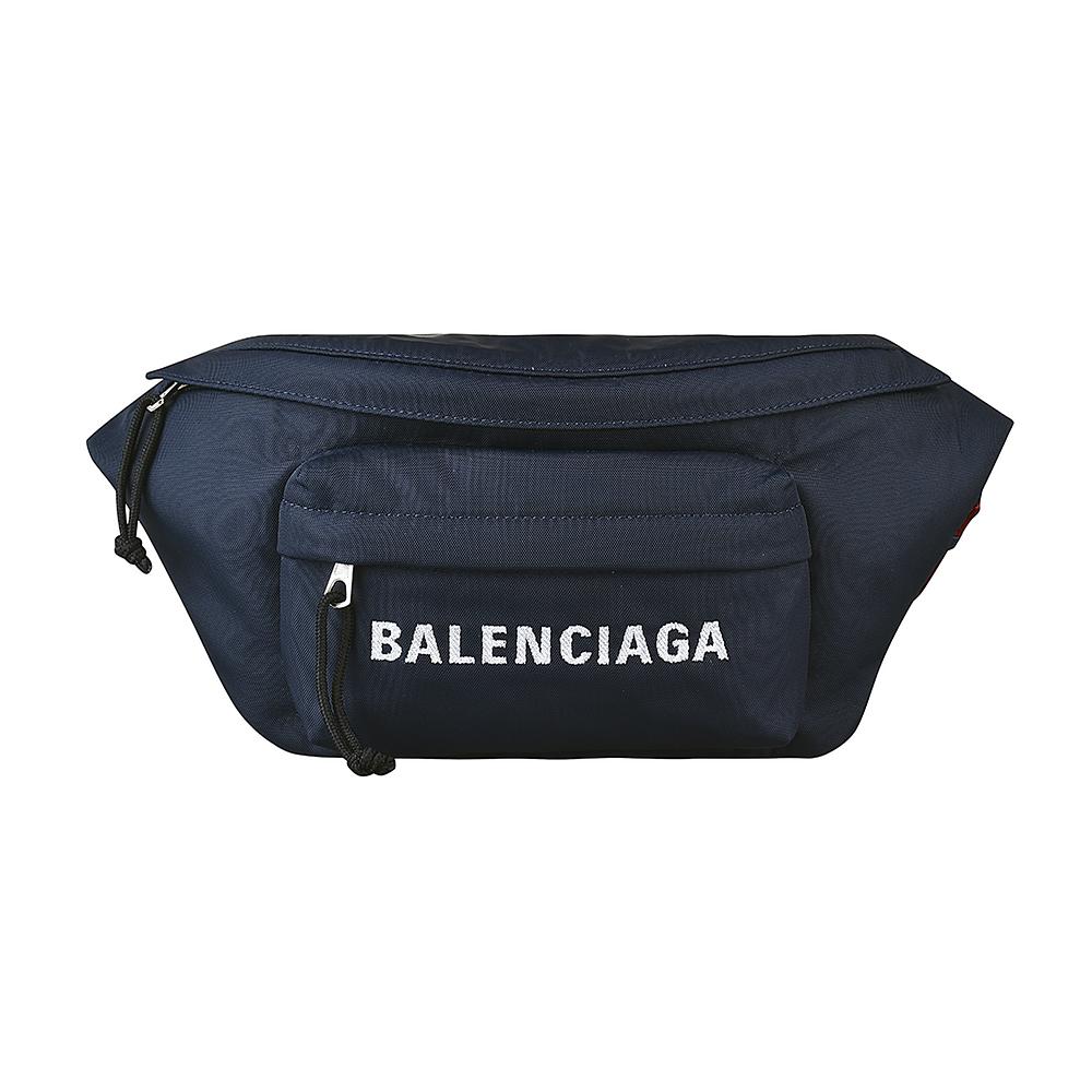 BALENCIAGA巴黎世家WHEEL經典刺繡LOGO尼龍拉鍊胸腰包(深藍)BALENCIAGA