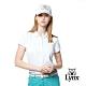 【Lynx Golf】女款吸濕排汗抗UV涼感羅紋邊條配色滿版印花短袖POLO衫-水藍色 product thumbnail 2