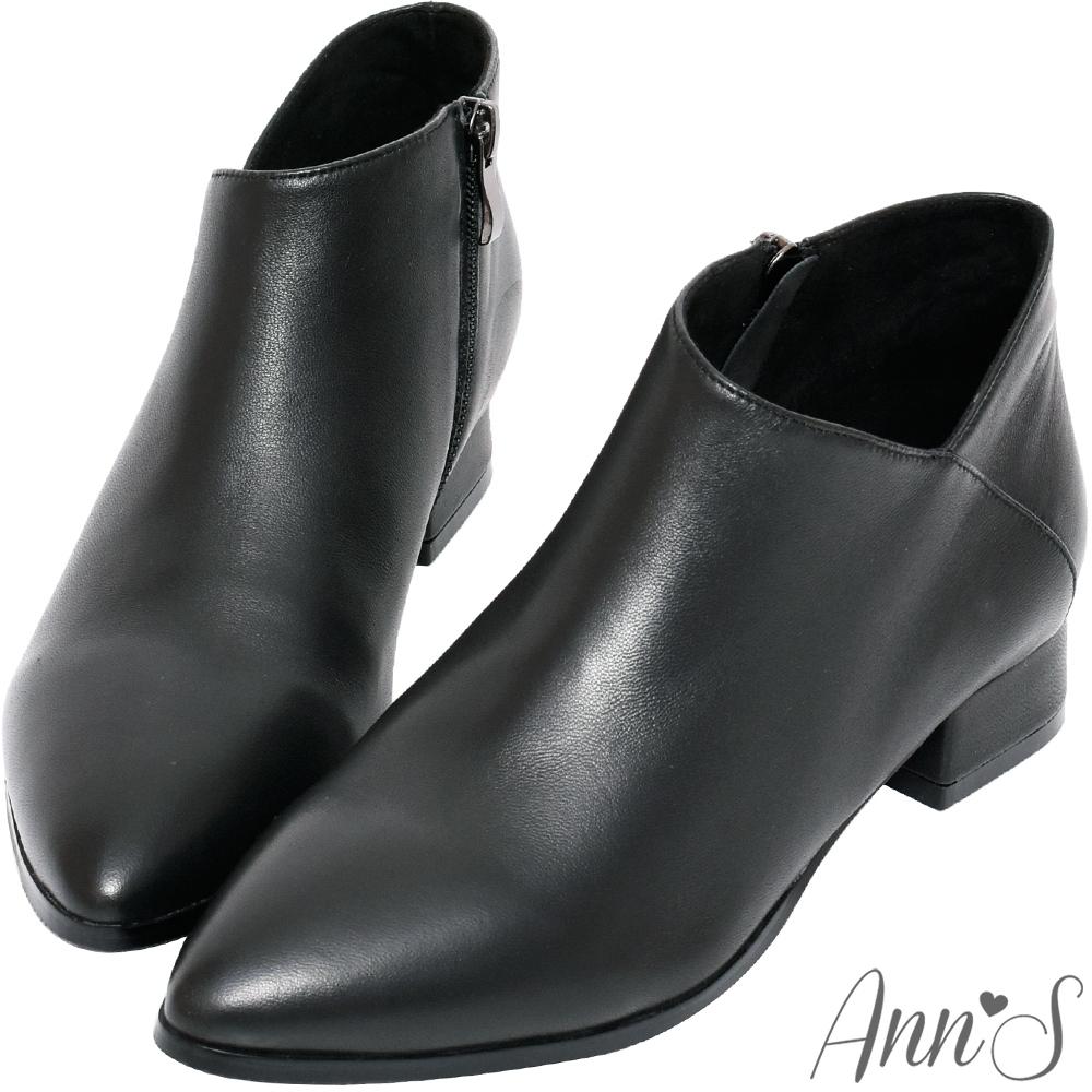 Ann'S無負擔-真皮小羊皮側V口尖頭平底短靴-黑(版型偏小)