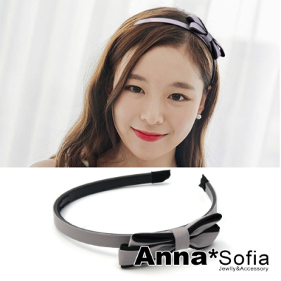 AnnaSofia 拼色側層美結 韓式細髮箍(灰系)