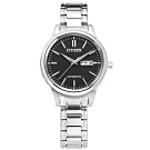 CITIZEN 機械錶 自動上鍊 藍寶石水晶玻璃 日期 不鏽鋼女錶-黑色/29mm