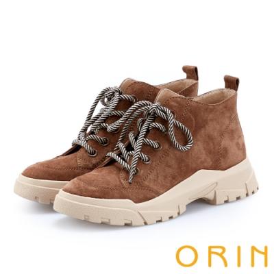 ORIN 潮流同步 真皮高筒綁帶平底休閒鞋-咖啡