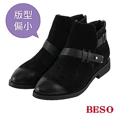 BESO 不羈騎士 擦色皮帶平底短靴~黑