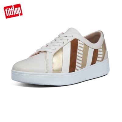 【FitFlop】RALLY 多彩金屬光拼接繫帶休閒鞋-女(白石色)