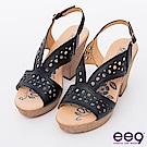 ee9矚目焦點~多層次鐳射鏤空粗跟涼鞋~黑色
