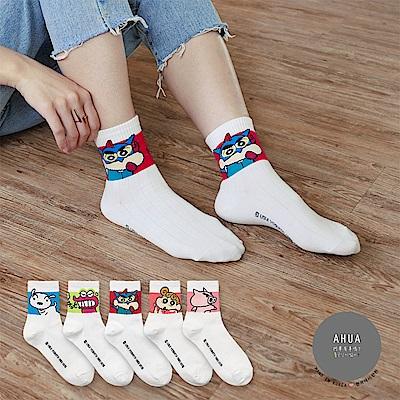 阿華有事嗎 韓國襪子 拼色蠟筆小新中筒襪 韓妞必備長襪 正韓百搭純棉襪