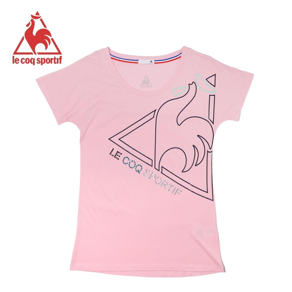 le coq sportif法國公雞牌燙鑽LOGO印花寬鬆版飛飛袖短袖T恤 女-灰粉