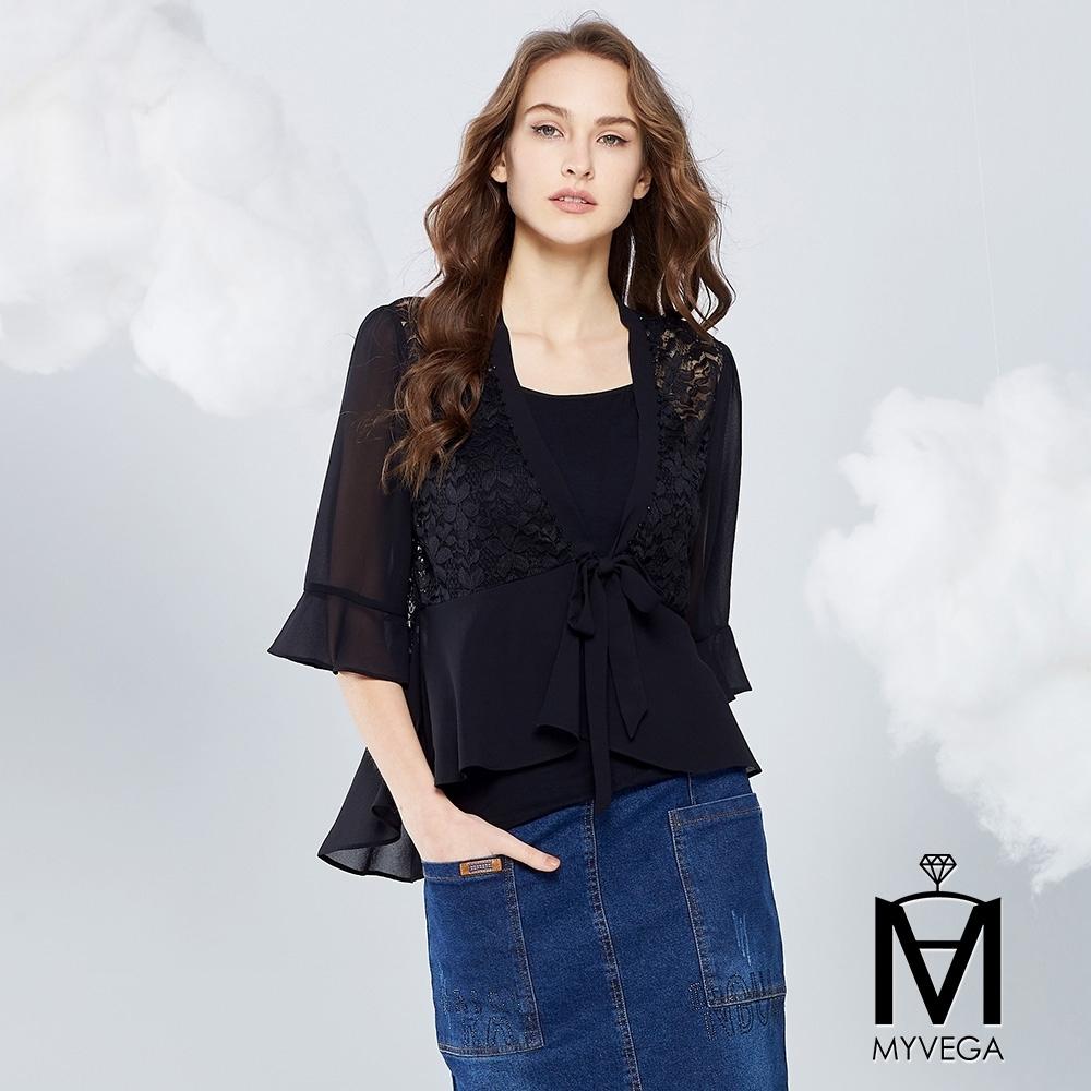 MYVEGA麥雪爾 MA浪漫蕾絲雕花五分袖罩衫外套-黑