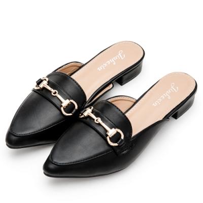 River-Moon穆勒鞋-中大尺碼馬蹄扣低跟尖頭鞋-黑