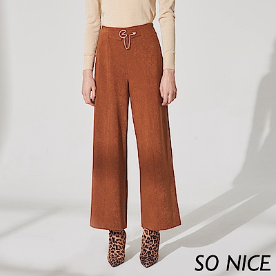SO NICE優雅金屬釦質感寬褲 @ Y!購物