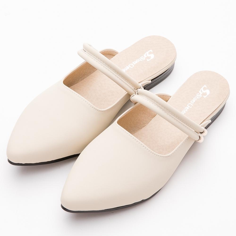River&Moon穆勒 台灣製 微尖頭Q軟兩穿式跟鞋 米