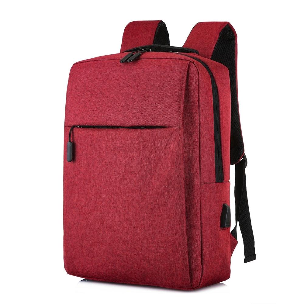 【KISSDIAMOND】耐刮減震USB充電雙肩背包(後背/筆電/商務/旅行/出差/酒紅)
