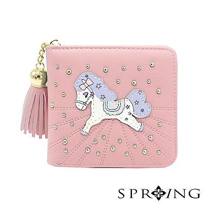 SPRING-夢幻彩虹pony拉鍊短夾-棉花糖粉