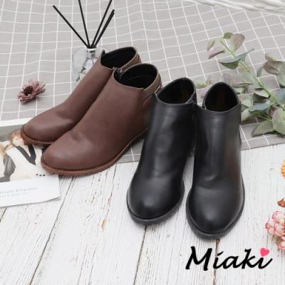 Miaki-短靴.單扣細絨拼色低跟踝靴