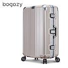 Bogazy 篆刻經典 26吋鋁框抗壓力學鏡面行李箱(暮色棕)