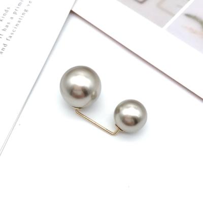 Hera 赫拉 簡約配件防走光勾型雙頭珍珠領針/胸針-3色