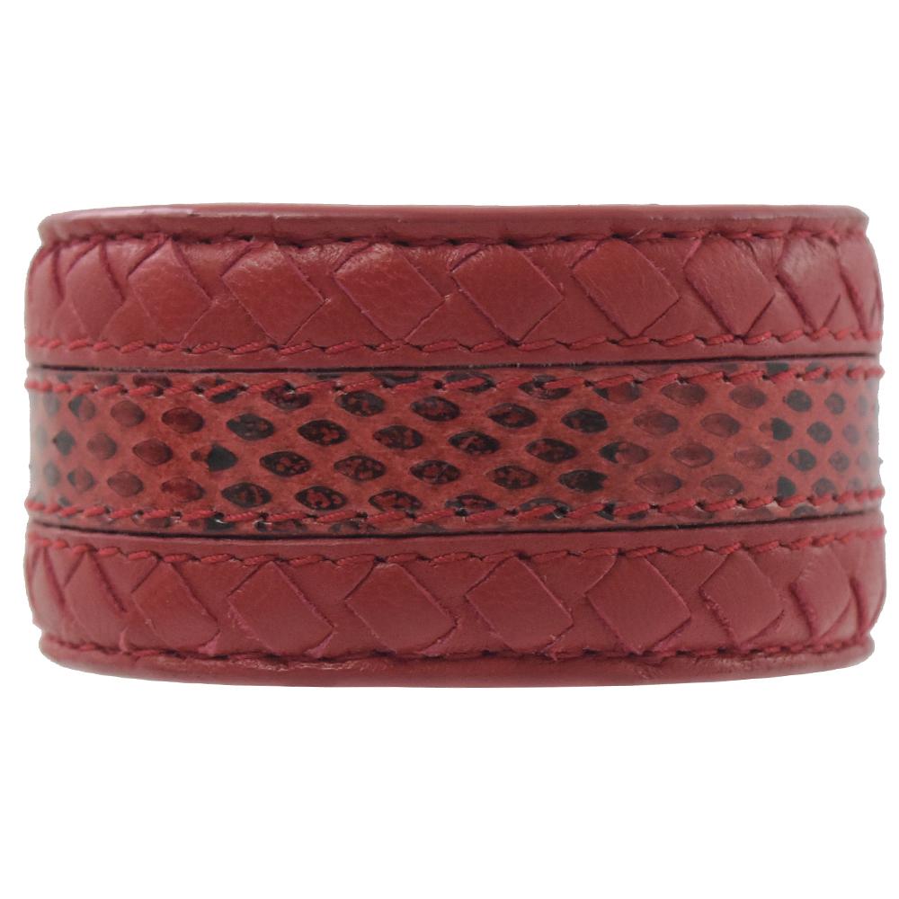 BOTTEGA VENETA 編織+蛇皮紋寬版手環(紅)
