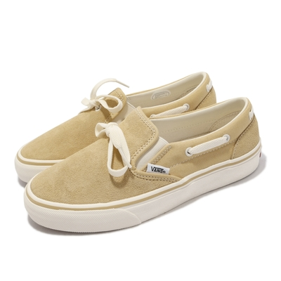 Vans 休閒鞋 V198CF Suede Lacey 女鞋 懶人鞋 麂皮 帆布 拼接 穿搭推薦 棕 白 6072300001