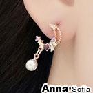 AnnaSofia 萊茵珠月 925銀針耳針耳環(金系)