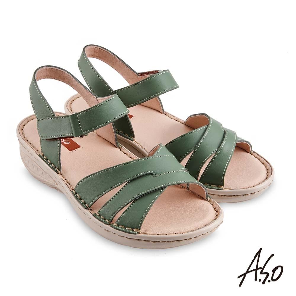 A.S.O機能休閒 輕量樂活經典版型設計休閒涼鞋-綠