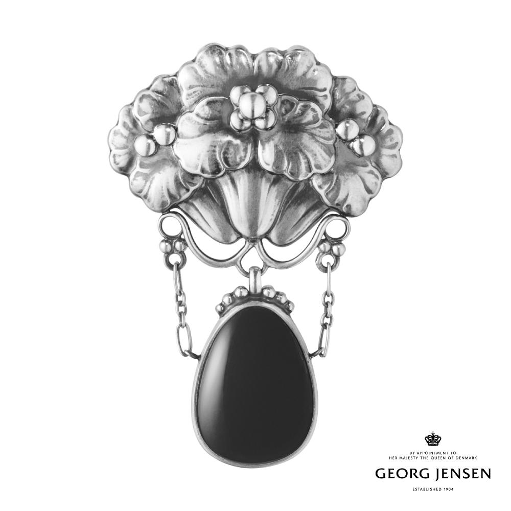 Georg Jensen 喬治傑生 MOONLIGHT BLOSSOM 黑瑪瑙純銀胸針 125 台灣限定